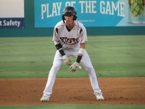 Padres prospect Robert Hassell III runs the bases for the Lake Elsinore Storm