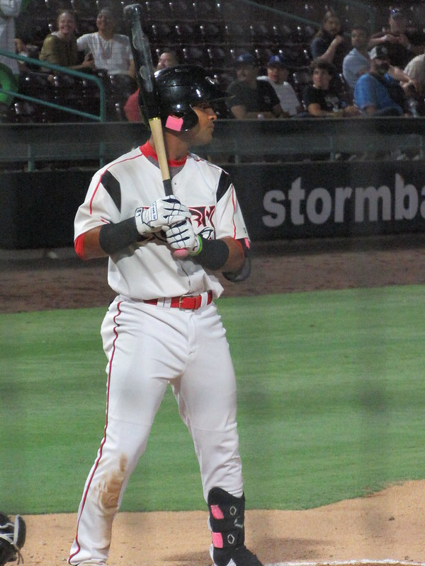 Padres prospect Euribiel Angeles bats for the Lake Elsinore Storm