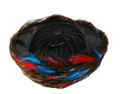 1950s Red, Blue & Black Feathered Breton. Available at MadgesHatbox.