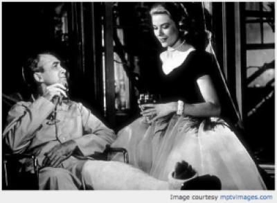 Jimmy Stewart and Grace Kelly in Rear Window