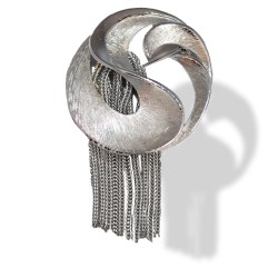 space age silver brooch
