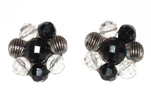 Black Clear bead earrings