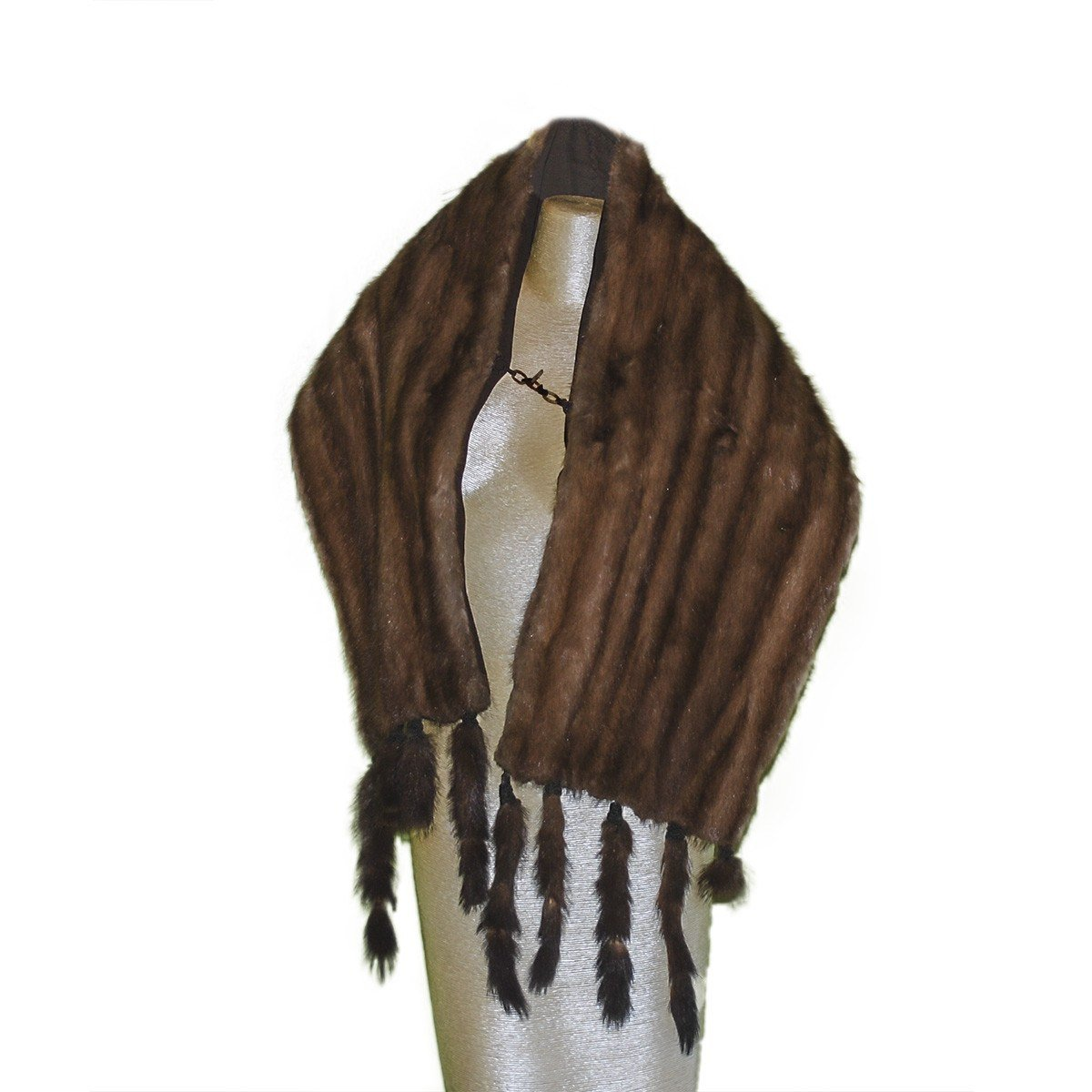 1930s Wild Brown Mink Stole with Head & Tails