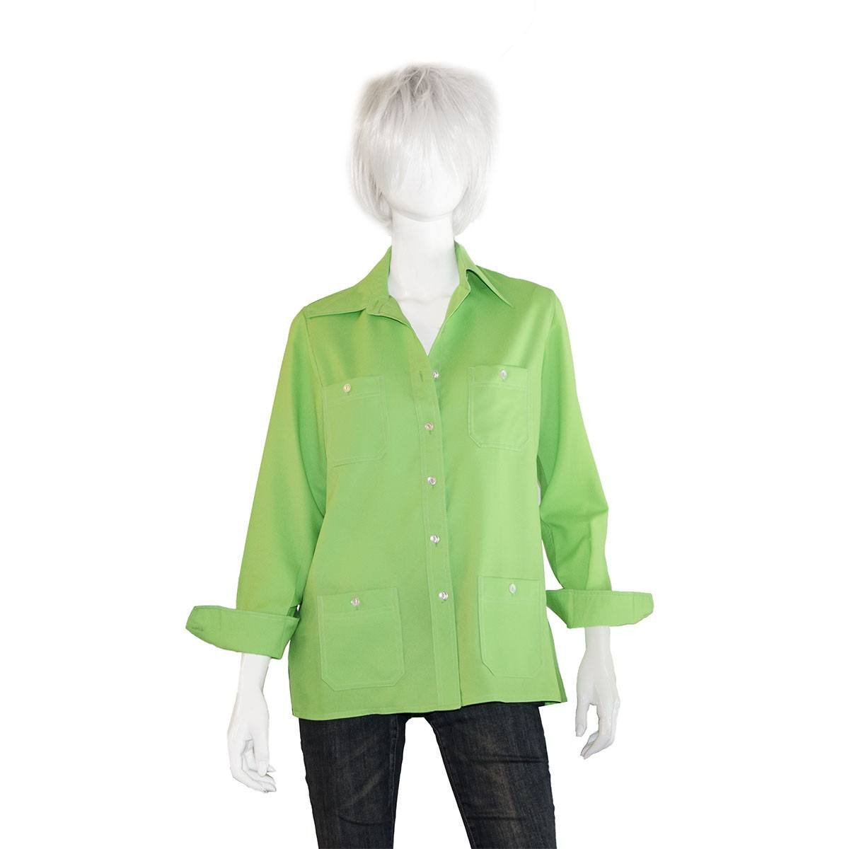 Vintage 1970s Green Polyester Shirt with Top Stitching