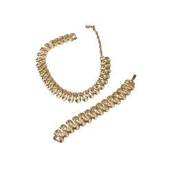 Mid Century Lisner Set, Necklace & Bracelet, Modernist Ribbon Design