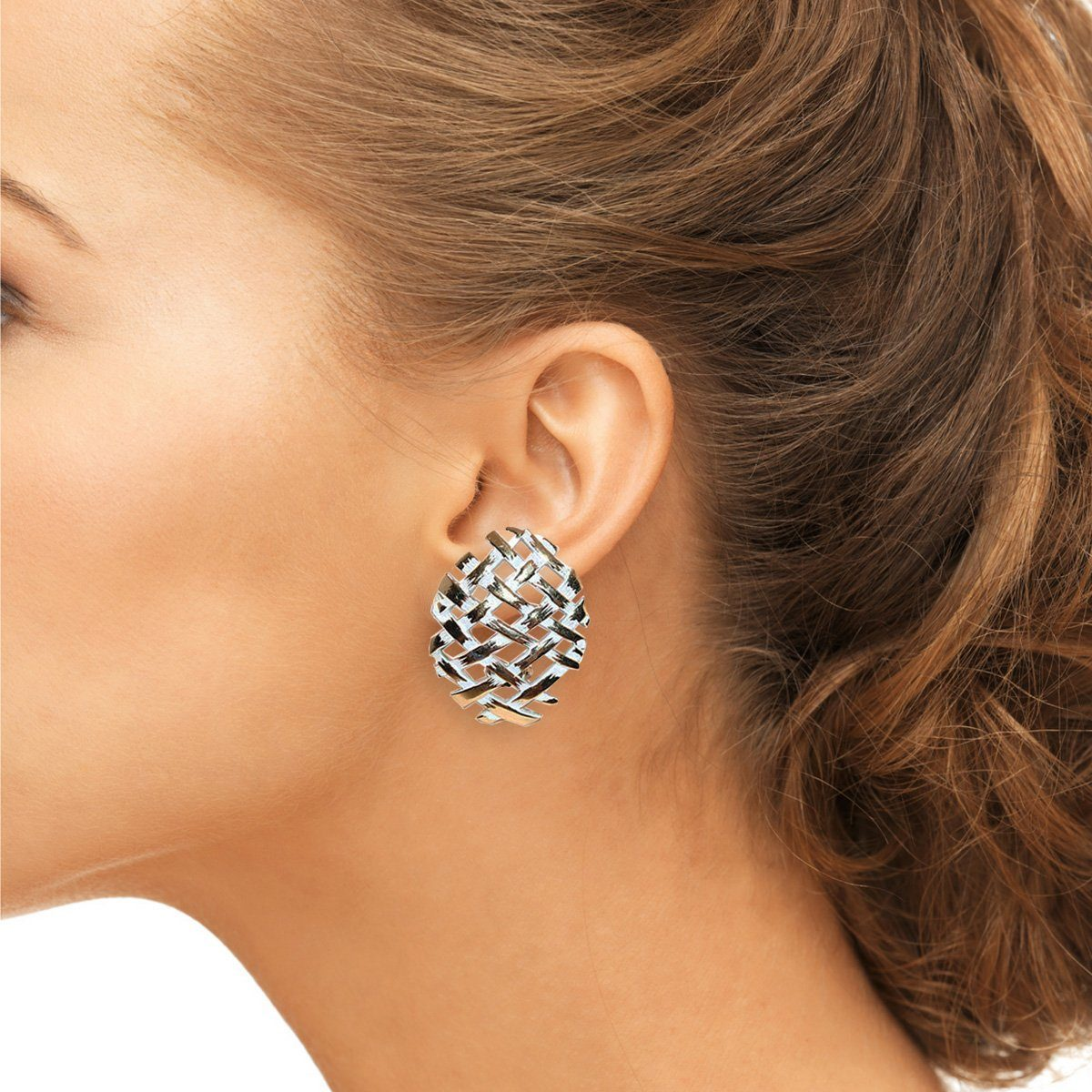 Modernist Clip Earrings in Gold Metal & White Enamel