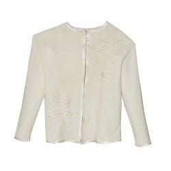 Sakowitz Cream Cardigan Sweater, Large Embroidered Roses, Vintage 60s