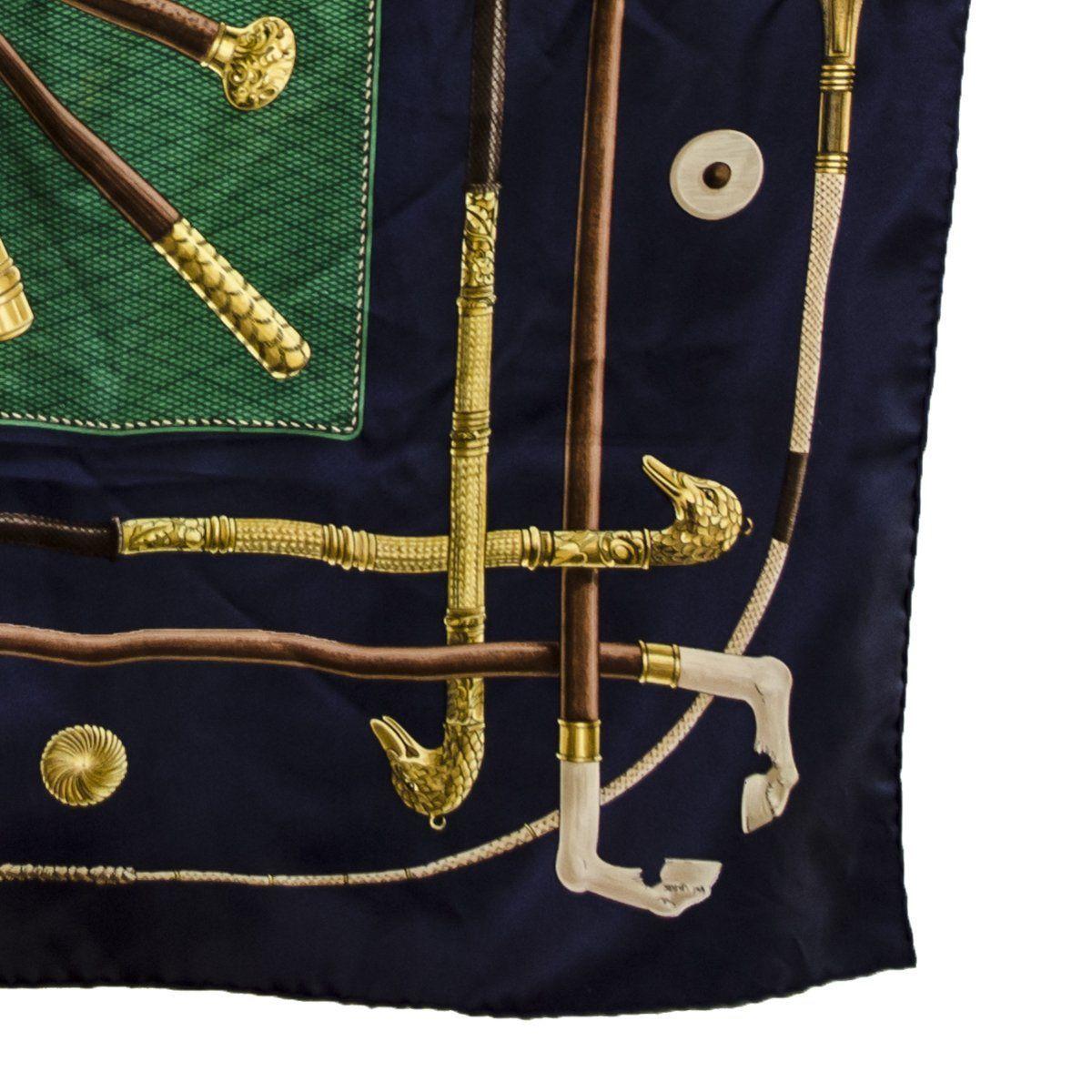 Vintage Hermes Silk Scarf, Walking Sticks, Cannes et Pommeaux, Françoise De La Perriere, Navy Blue & Green