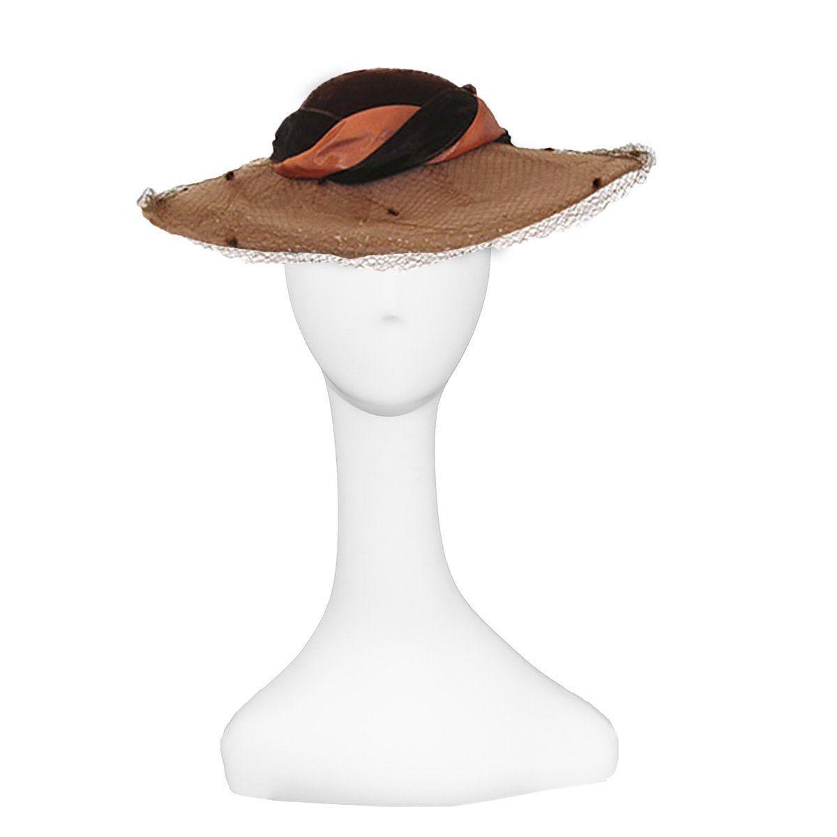 Whittall & Javits Brown Velvet & Wool Felt Wide-brim Hat with Netting, Hat Size 22