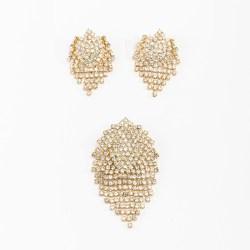 Vintage dangle earrings & brooch