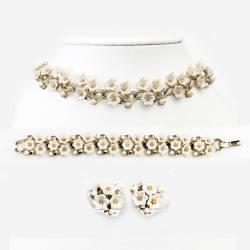 1950s Lisner Set, Necklace, Bracelet & Earrings, White Daisy & Gold Link