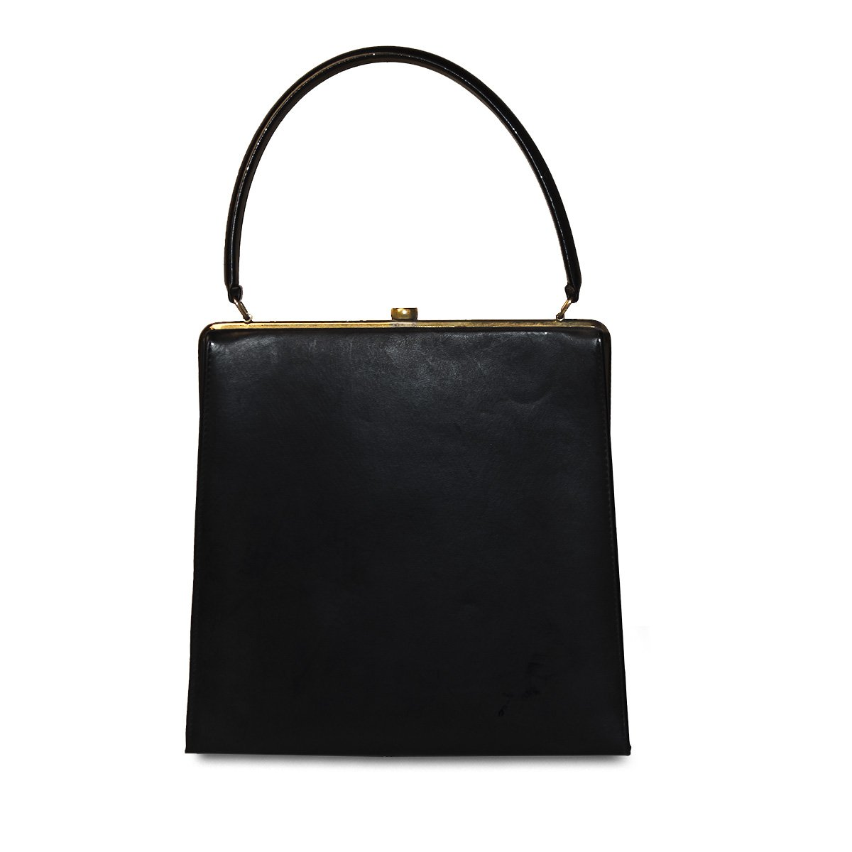 1950s Navy Blue Structured Handbag, Gold Hardware