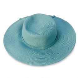 Turquoise Wide Brim Straw Sun Hat, Size 21.5
