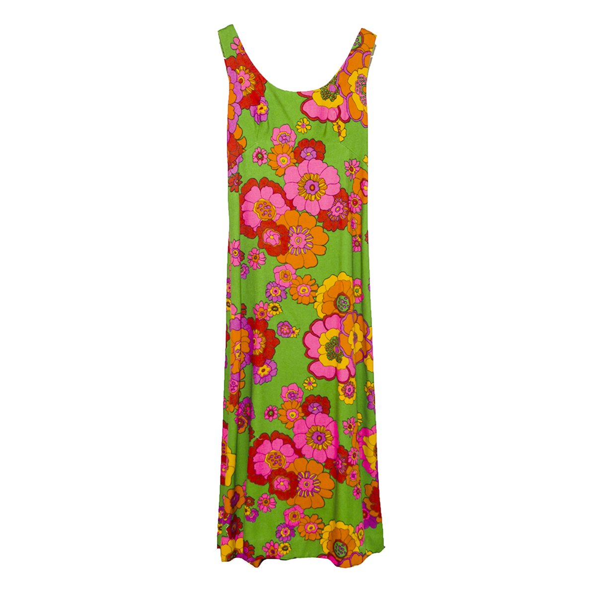 1970s Floral Maxi Dress, Sleeveless with Rhinestone Buttons