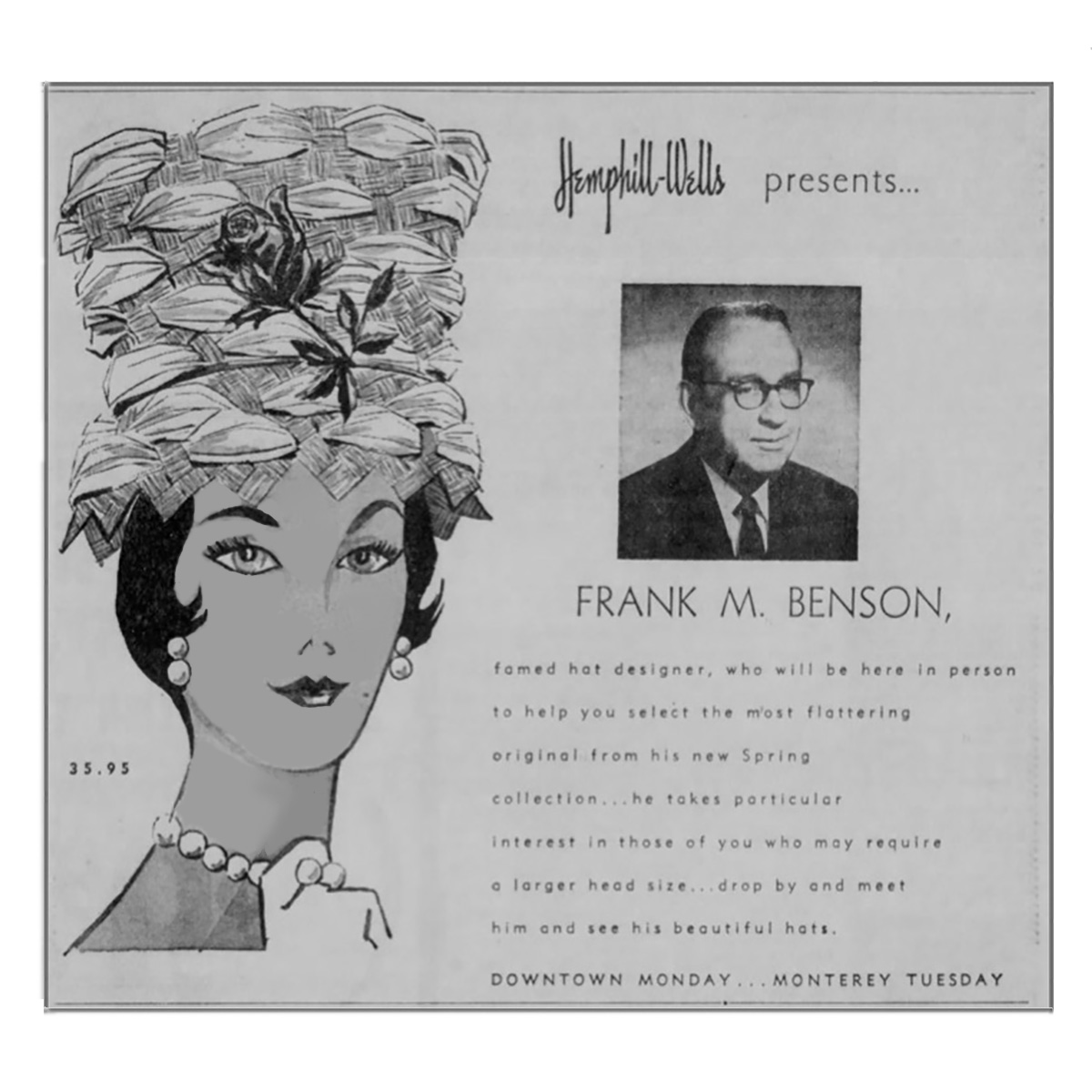 Frank M Benson advertisement 1960s