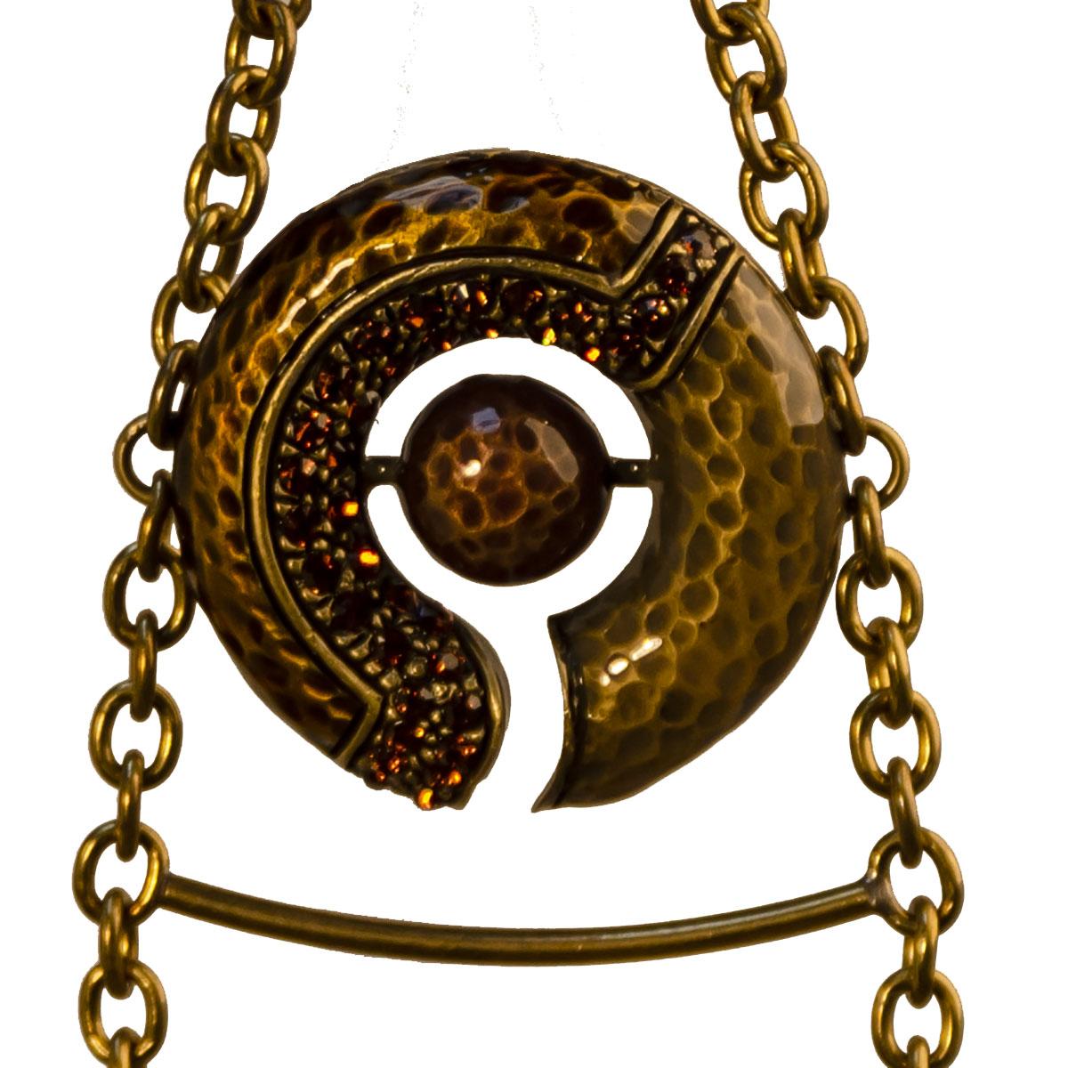 Circle pendant Hammered Metal