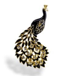 enamel peacock brooch