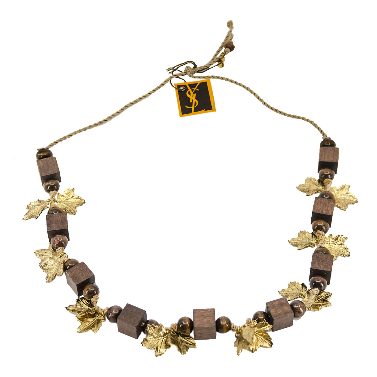 wooden bead necklace by YSL