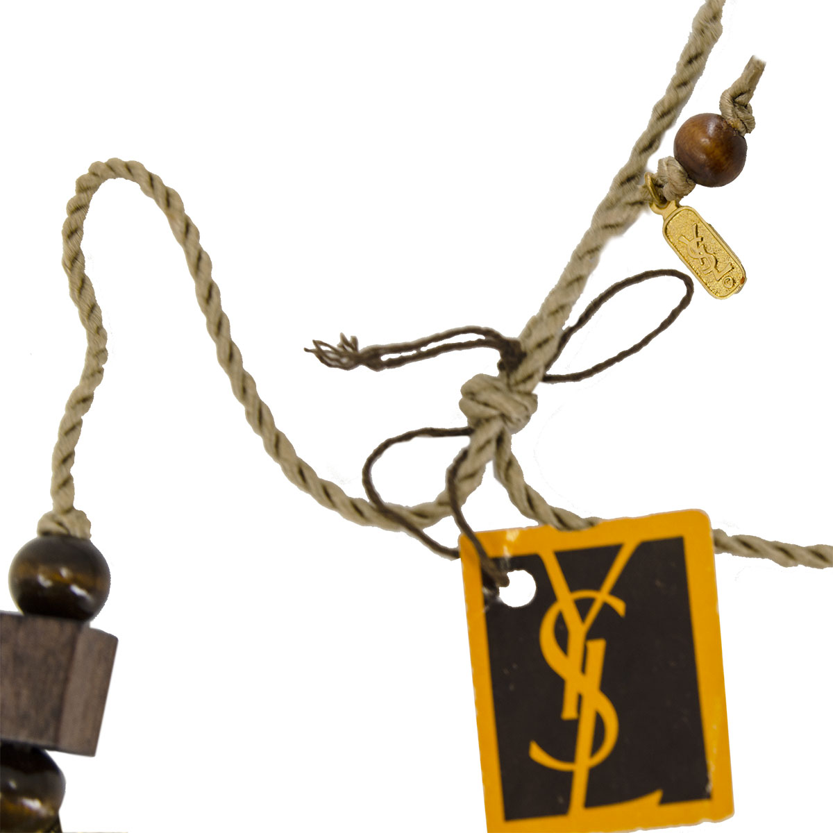 YSL hangtag wooden bead necklace yves saint laurent hang tag