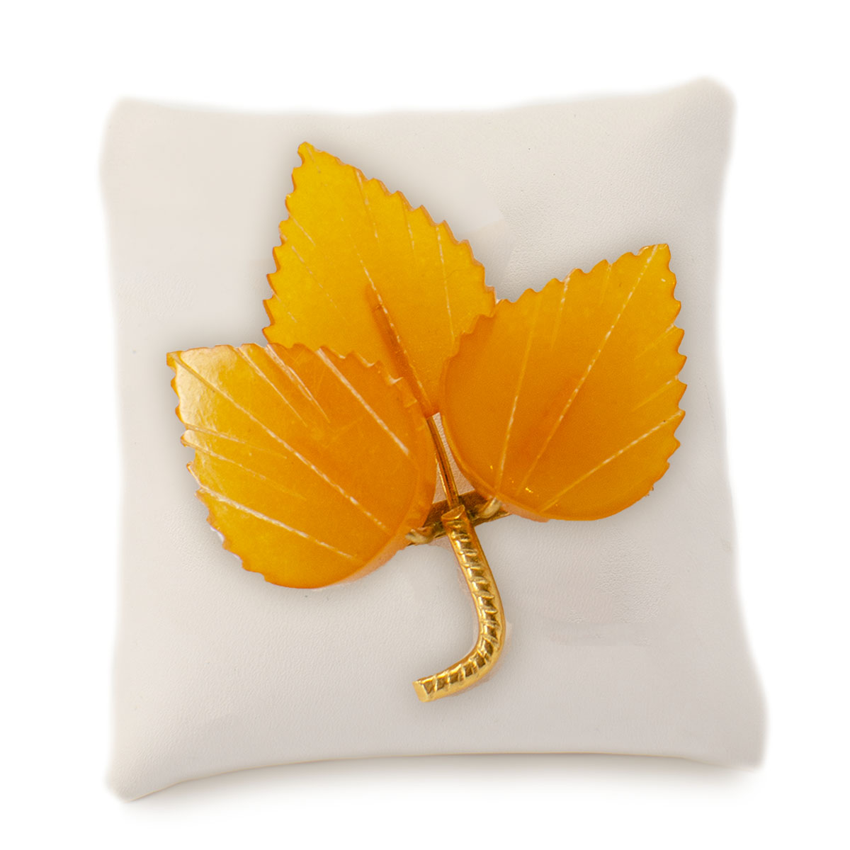 Vintage Russian amber leaf pin