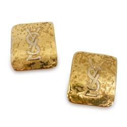 YLS logo earrings, yves saint laurent