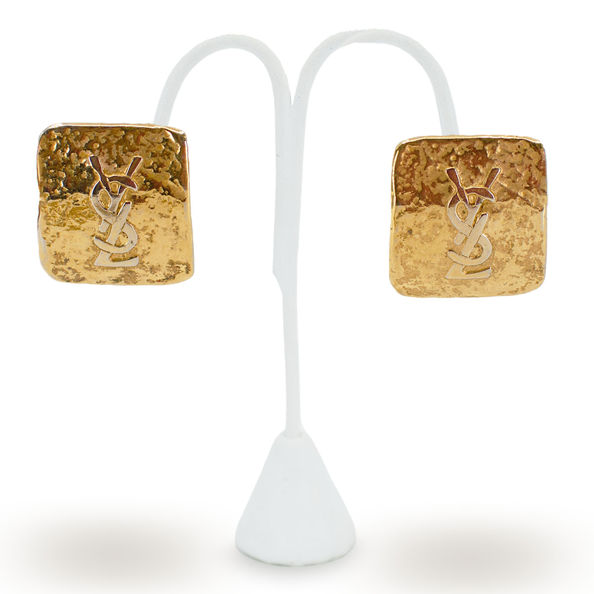square gold YSL earrings, yves saint laurent jewelry
