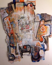 the light awakened something in there; Acrylic, collage, ink on cardboard; Image/object: 21 1/2 x 27 inches