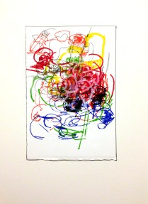 <<>> 2015; 23 potential marker choices, black or white China marker on paper mounted to board; 8x10 inches, object size