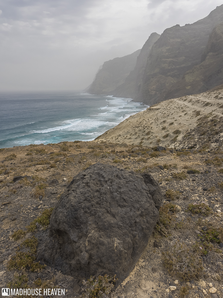view of the the atlantic hitting the volcanic coast of santo antao
