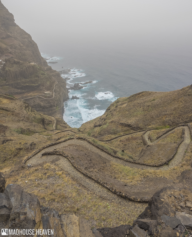 Steep winding trail leading down the volcanic slopes to the coast of Santo Antao