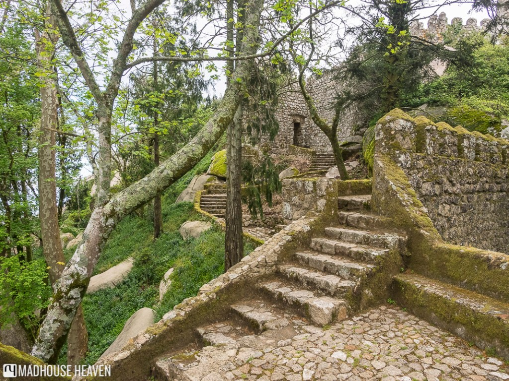 staircases leading to different levels of the medieval islamic stone fortress in Moorish Castle Sintra