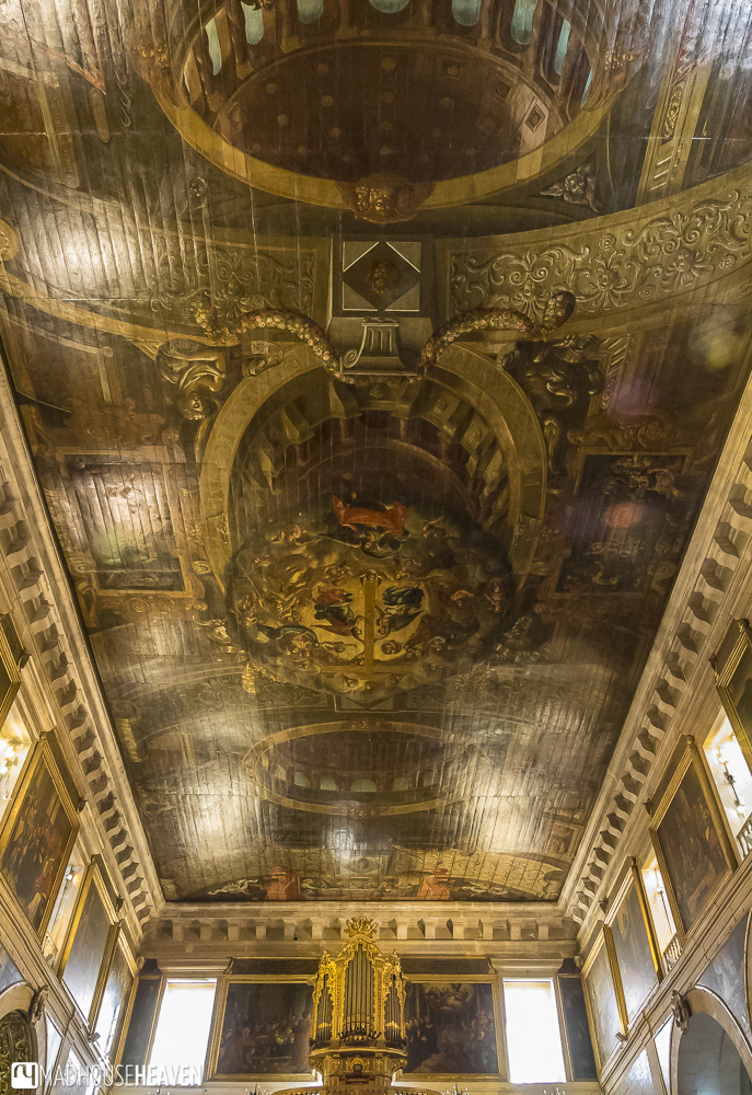 Painted ceiling of cathedral Igreja de São Roque - churches in Lisbon