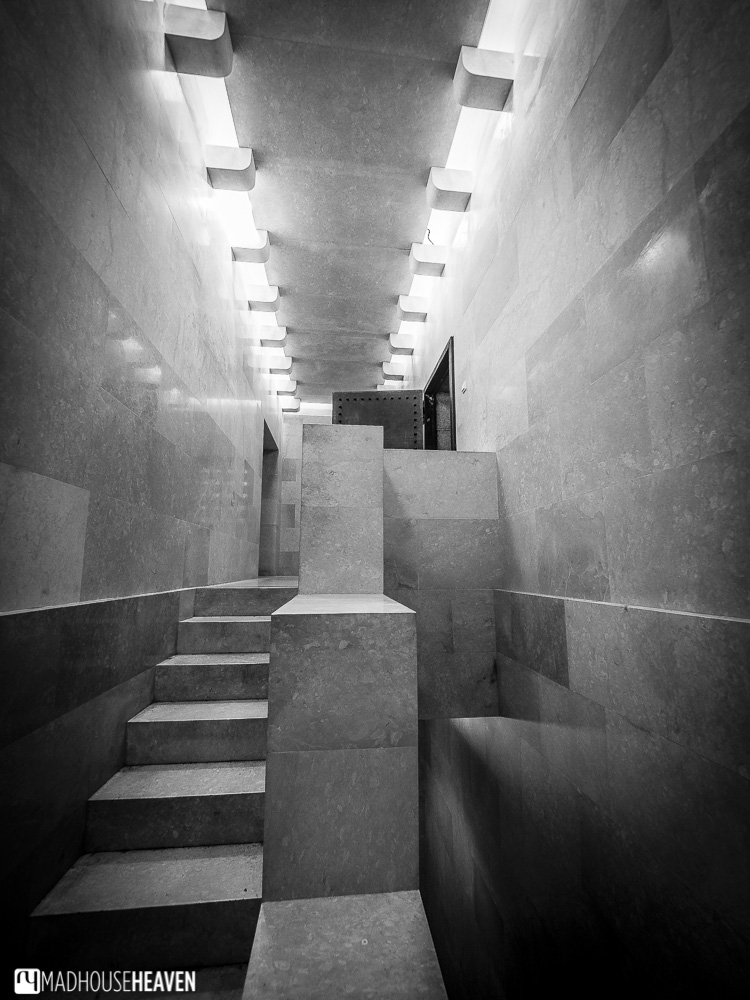 The beautiful and brutalist architectural interior of the Mausoleum