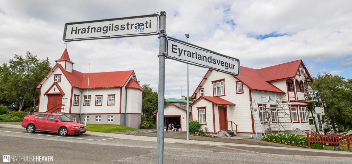 Iceland, Akureyri, white houses with red roofs, nordic traditional architecture