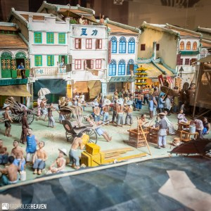 A diorama of Chinese shophouses and the bustling river of Singapore