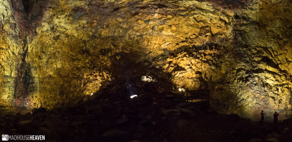 Panorama of the interior of the Thrihnukagigur Volcano, taken from the highest point inside the chamber