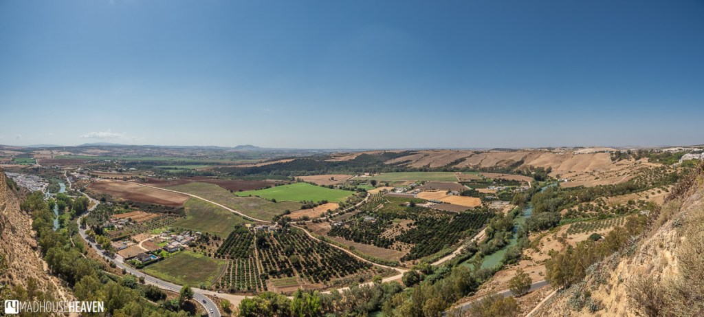 Beautiful wide Andalusian landscape seen from the Balcony New Peña in Arcos de la Frontera