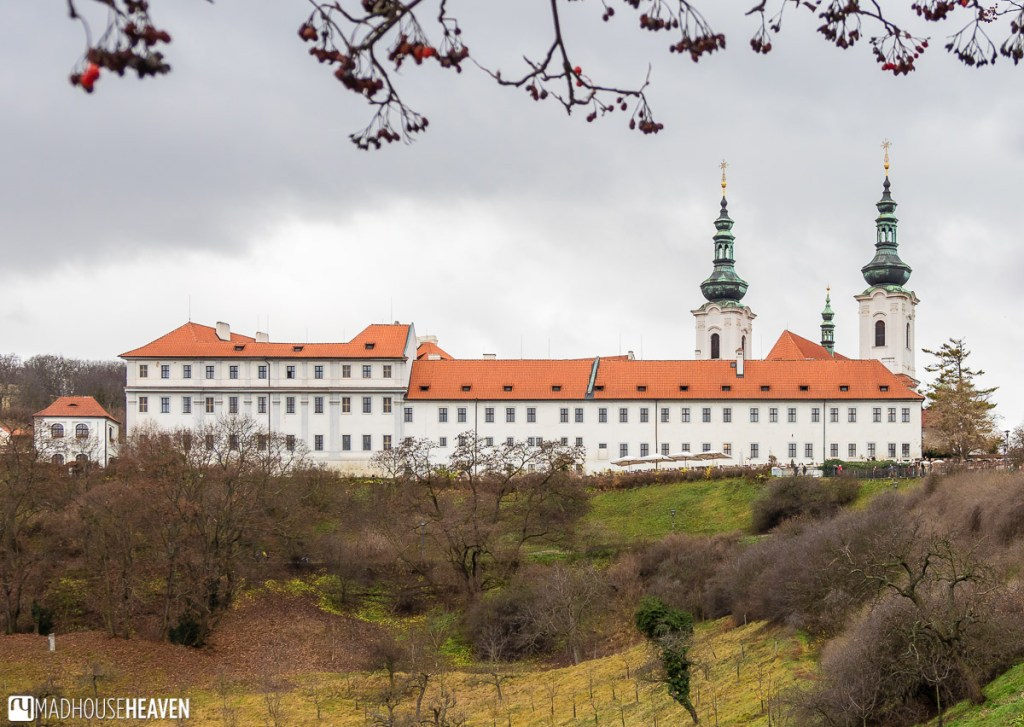 The view of the Strahov Monastery from the Úvoz Street, which passes by the Prague Castle
