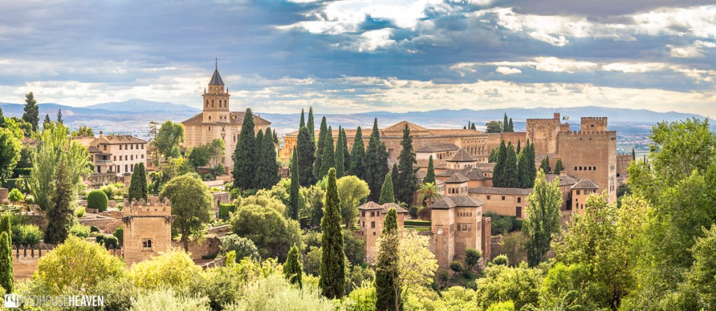 A parting view of Alhambra nestled among the greenery, taken during our visit to Generalife