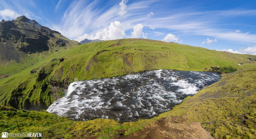 The river that feeds the Skógafoss waterfall in Iceland