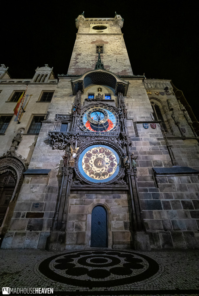 Prague's astronomical clock at night