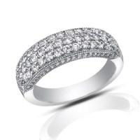 1.00 ct Pave Set Round Cut Diamond Wedding Band Ring