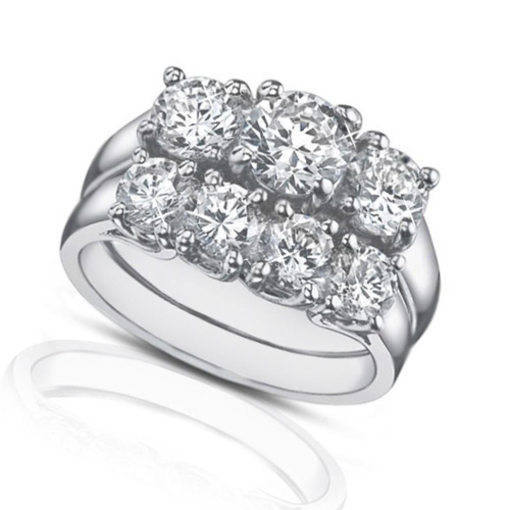 225 Ct Three Stone Round Diamond Engagement Ring With