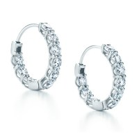2.25 ct Ladies Round Cut Diamond Hoop Huggie Earrings