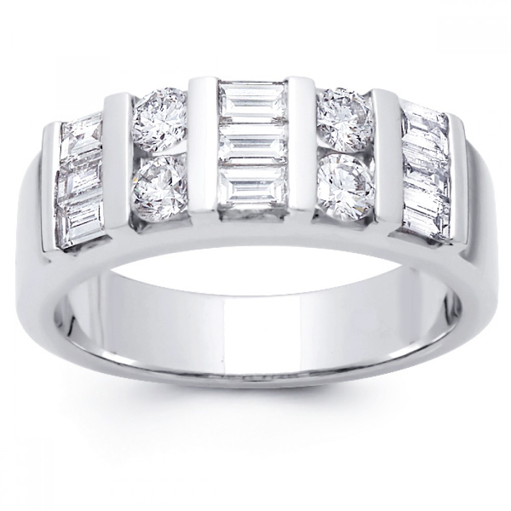 200 Ct Baguette And Round Cut Diamond Wedding Band Ring