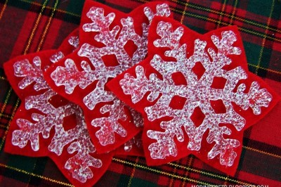 Dollar Store Snowflake Coasters