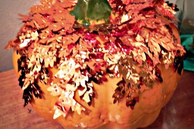 """Gold Leafed"" Pumpkin: Dollar Store Style"