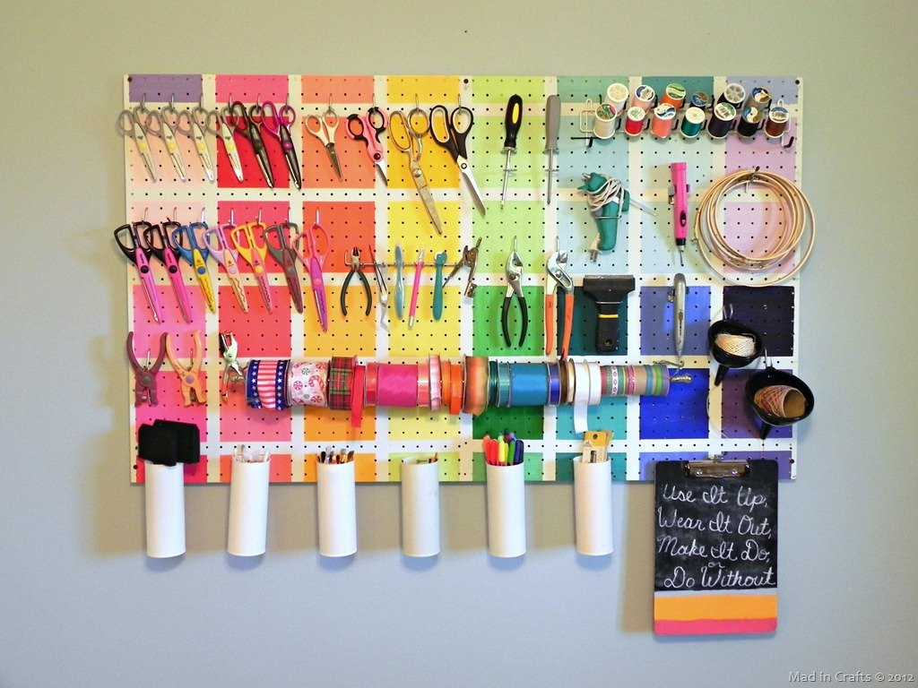 Project Runway Inspired Colorful Pegboard Organization Mad In Crafts
