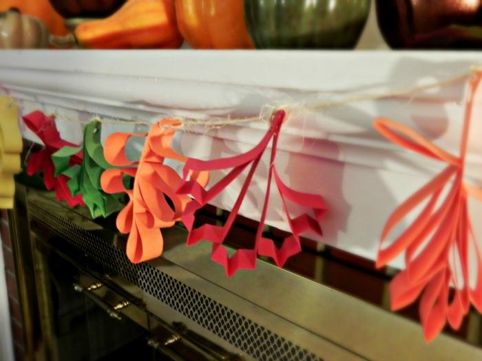 paper leaves garland closeup