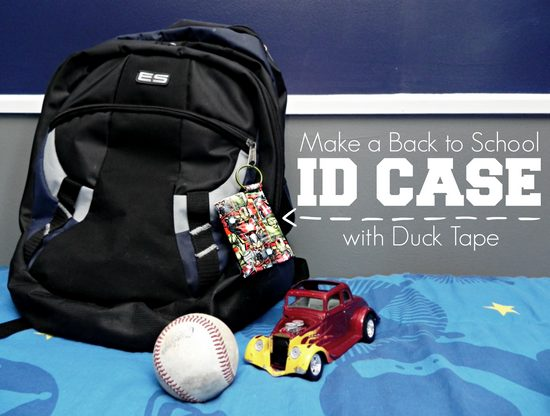 Backpack with Duck Tape ID case with baseball and model car